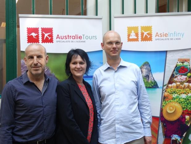 Claude Blanc (co-président), Lauriane Roure (chef de produits Asie) et Jacques Judéaux (co-président) - Photo JBH