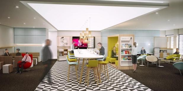 Le salon dispose d'une large table permettant de prendre un café ou une collation sur le pouce - DR : Air France Corporate