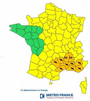 10 départements du Sud-Ouest de la France en vigilance orange aux orages et aux inondations - DR : Météo France
