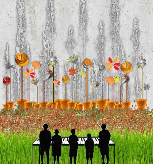 L'orgue à eau, l'une des Créatiles imaginées par Gad Weil. (4 m de haut et 10 m. de long).