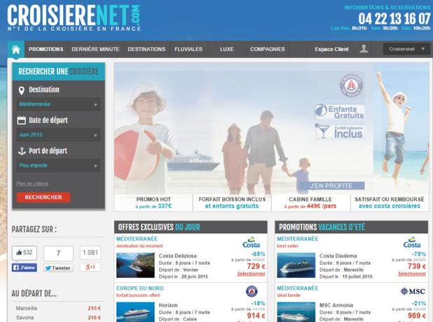 Avec 10,5 % de parts de marché, Croisieresnet.com est leader sur le marché de la distribution de croisières en ligne - Capture d'écran