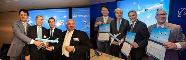 Korean Air a profité du salon du Bourget pour signer des commandes avec Boeing et Airbus - Photo : Korean Air