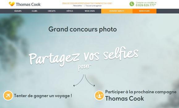 Thomas Cook ouvre une plateforme dédiée à son concours de selfies - Capture d'écran