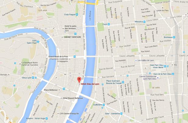 L'InterContinental Lyon Hôtel-Dieu sera situé au cœur de la ville - DR : Google Maps