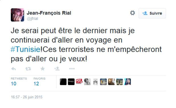 """JF Rial : """"Je serai peut être le dernier mais je continuerai d'aller en #Tunisie"""""""