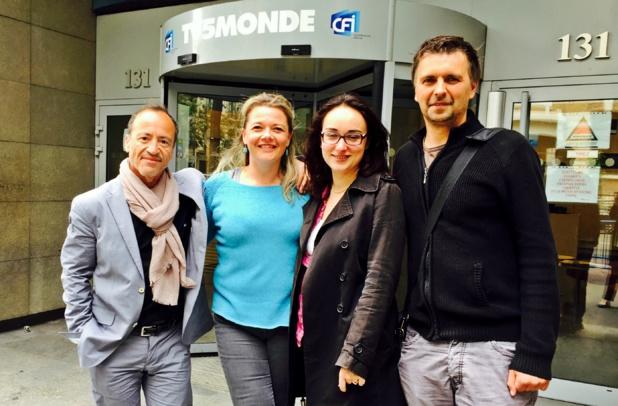 De gauche à droite - Jean da Luz, co-président du Groupe TourMaG.com, Sandrine Frantz (Lukarn), Marie-Lise Lafon (Direction des programmes TV5 Monde) et Xavier Petit, responsable Production de TourMaGPROD