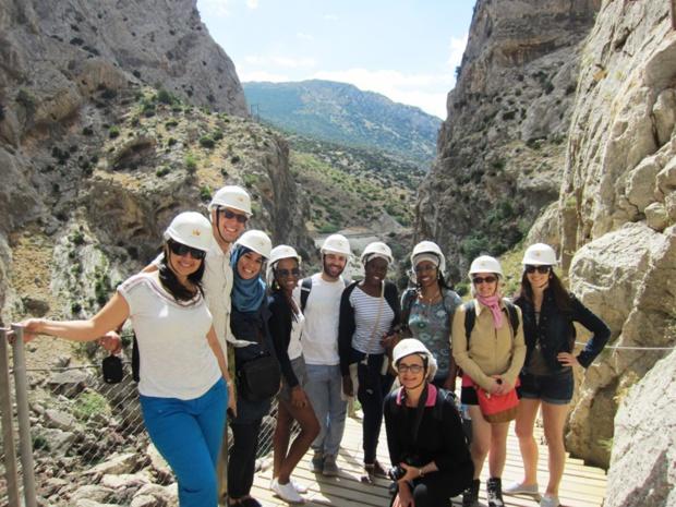 Les participants à l'éductour d'Air Europa pendant leur randonnée au Caminito Del Rey. DR-LAC