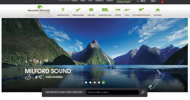 Nouvelle-Zélande à la carte propose une offre complète de séjours sur la Nouvelle-Zélande - Capture d'écran