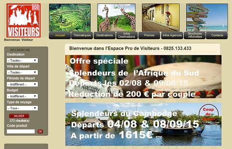 Visiteurs dévoile ses tarifs pour 2016 sur son site pro - Capture d'écran