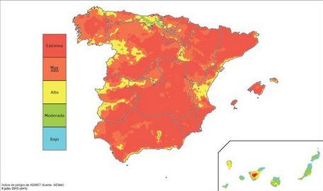 La carte des risques de départs d'incendies publiée sur Twitter par le ministère de l'Agriculture espagnol - DR