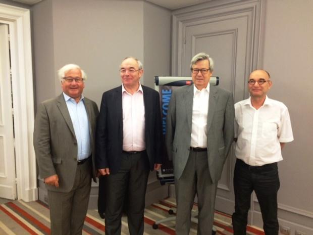 François-Xavier de Boüard, le fondateur de Selectour Afat,  Philippe Violier, le directeur de l'ESTHUA, Pierre Denizet, le président du directoire d'Appart'City et Philippe Broix, le directeur de l'Angers TourismLab. DR - DG
