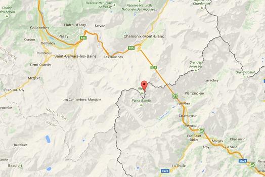 Le massif du Mont-Blanc se situe à cheval entre la France et l'Italie - DR : Google Maps