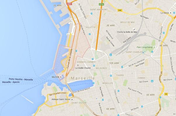 Le hangar du J1 est situé dans la quartier de La Joliette à Marseille - DR : Google Maps