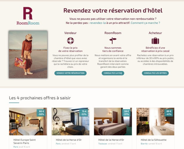 L'application RoomRoom permet de revendre sa réservation d'hôtel - DR : Capture d'écran RoomRoom.com