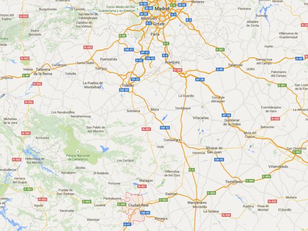 La ville de Ciudad Real est situé au Sud de Madrid - DR : Google Maps