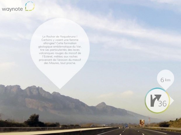 Waynote is a mobile application to discover the regions along the highway, that talks about the landscapes, and suggests pauses around the exits - DR : Screenshot Waynote