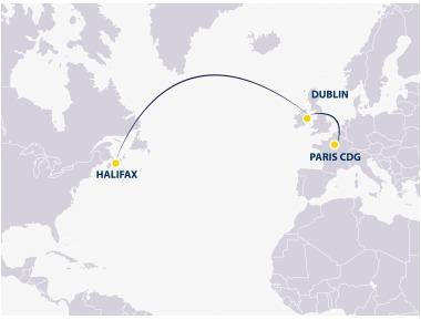Europe Airpost flies towards Halifax from CDG via Dublin - DR: Europe Airpost