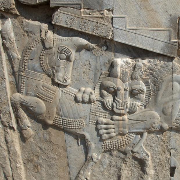 Persépolis. Détail. Construite vers 520 av. J.-C. sous le règne de Darius 1er la cité symbolise la grandeur et la suprématie des souverains achéménides - Photo OT d'Iran