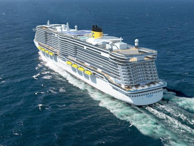 Ces paquebots du futur mesureront 337 m de long, 42 m de large ; 180 000 tonneaux de jauge. ils disposeront de 2 600 cabines (pour un total de 6 600 passagers) et 1 647 membres d'équipage - DR : Costa Crociere