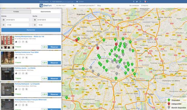 OnePark permet de réserver une place de parking en quelques clics - © OnePark