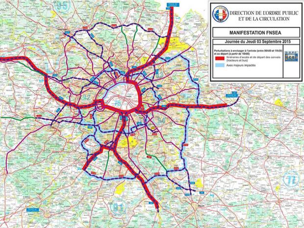 La carte des difficultés sur les autroutes autour de Paris - DR : Préfecture de Police de Paris