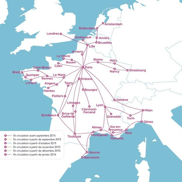 La carte des 130 liaisons de OUIBUS - DR : SNCF