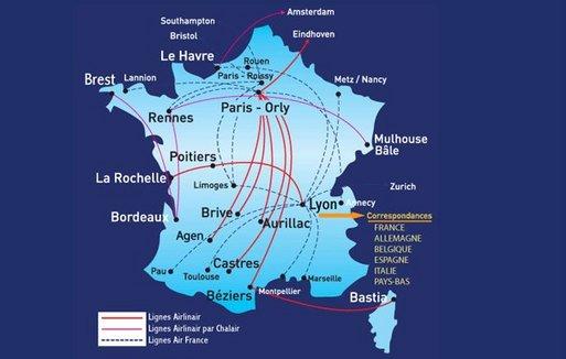Le réseau d'Airlinair (cliquer pour agrandir)