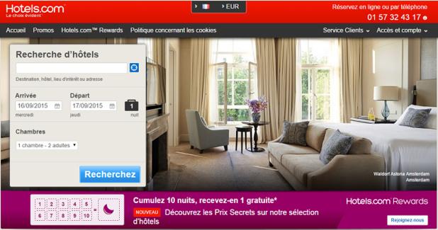 Hotels.com fait le point sur les recherches de ses visiteurs pour l'après-saison - Capture d'écran