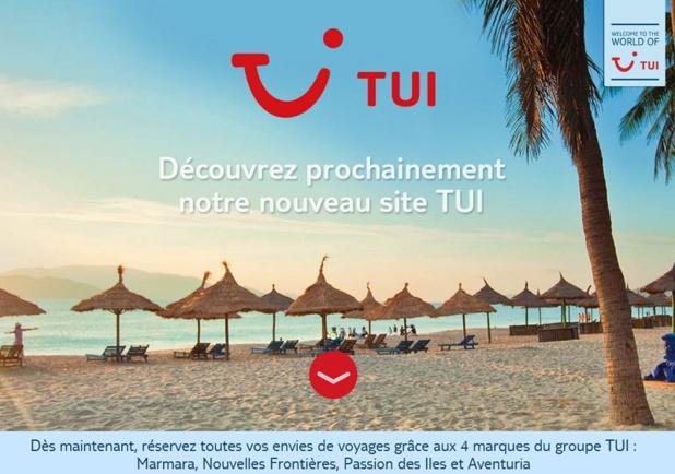Un nouveau site internet TUI.fr viendra couronner l'implantation de la marque à partir de septembre 2016 - Capture écran