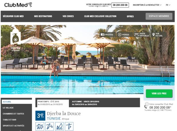 Club Med ne programme pas son Village de Djerba la Douce pour l'Hiver 2015/2016 - Capture d'écran
