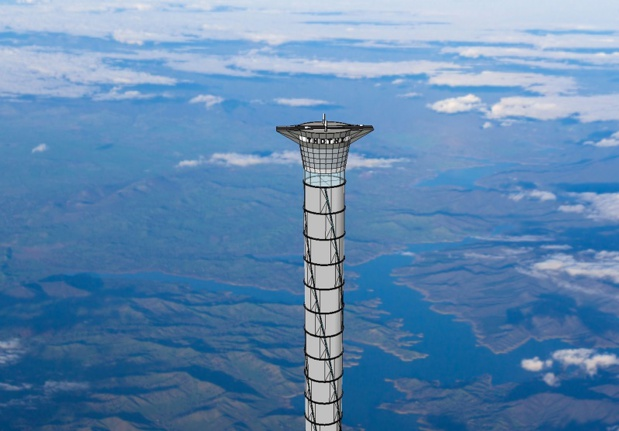 Le projet de la Tour ThothX consiste à construire un ascenseur spatial haut de 20 kilomètres avec des matériaux pneumatiques renforcés - DR : Thoth Technologies