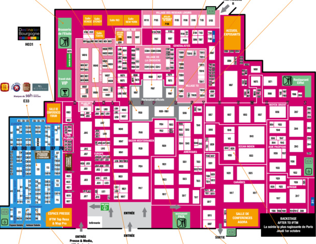 Le plan de l'IFTM Top Résa et du Map Pro 2015 au Pavillon 1 - DR : Reed Expo