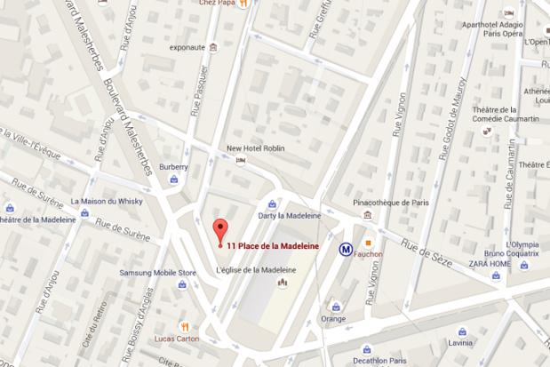L'hôtel de luxe de Fauchon sera situé tout près de l'épicerie de la marque, place de la Madeleine - DR : Google Maps