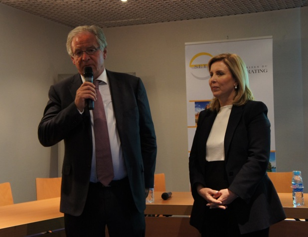 René-Marc Chikli, and Salma Elloumi Rekik, Tourism Minister of Tunisia, during SETO's press briefing.