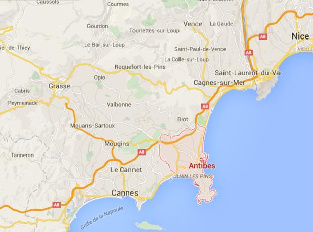 C'est la zone entre Cannes, Mandelieu et Antibes qui a subi le plus de dégâts dans la nuit de samedi 3 à dimanche 4 octobre 2015 - DR : Google Maps