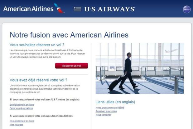 Le site internet d'US Airways renvoie déjà vers celui d'American Airlines - DR : Capture d'écran site US Airways