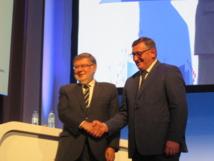 Alain Vidalies Secrétaire d'Etat chargé des Transports et Michel  Seyt.