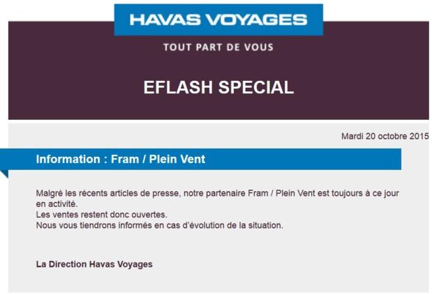 Havas Voyages : les ventes de FRAM / Plein Vent (à nouveau) ouvertes