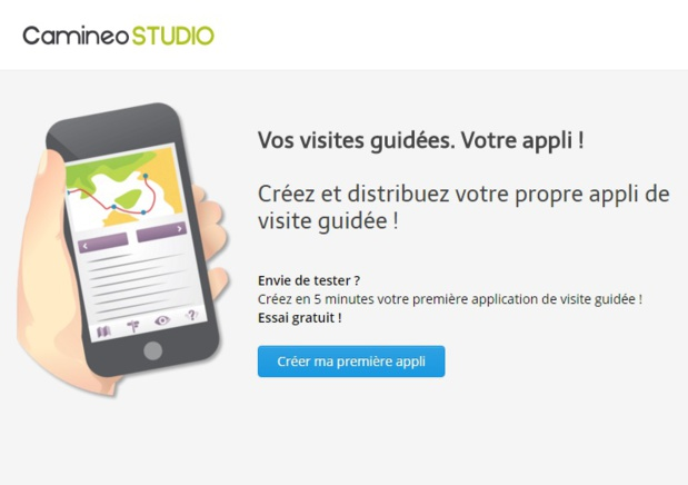 La plateforme web Camineo Studio permet de créer sa propre application mobile de visites  guidées © Camineo