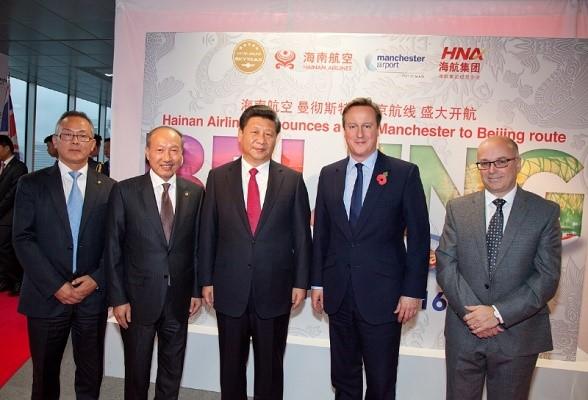 L'annonce de l'ouverture de la ligne Beijing-Manchester de Hainan Airlines s'est faite en présence de David Cameron, premier ministre britannique - Photo : Hainan Airlines
