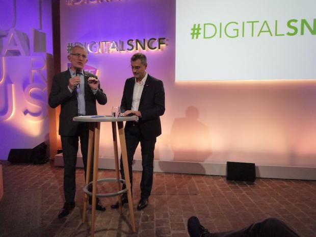 Guillaume Pépy, président de la SNCF et Yves Tyrode, son directeur digital, présentent le plan #DigitalSNCF le 10 février 2015 - (c) Clubic