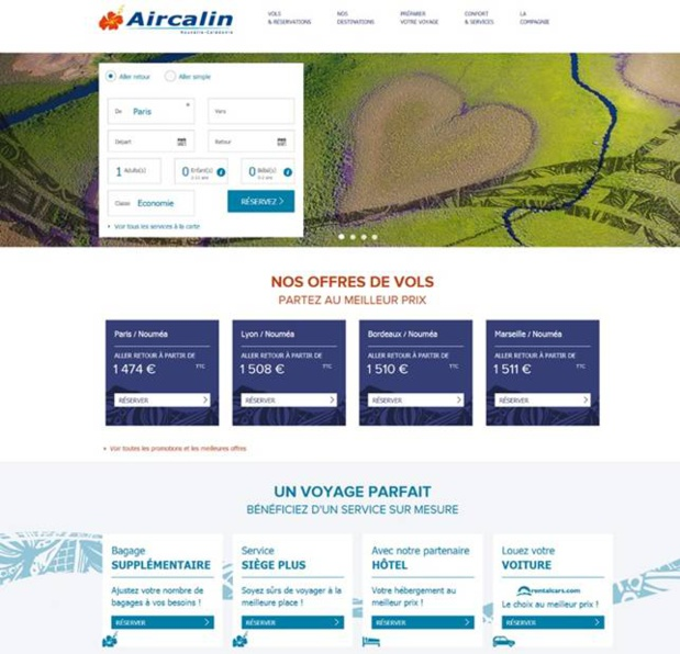 Le site aircalin.com - (c) capture d'écran Aircalin