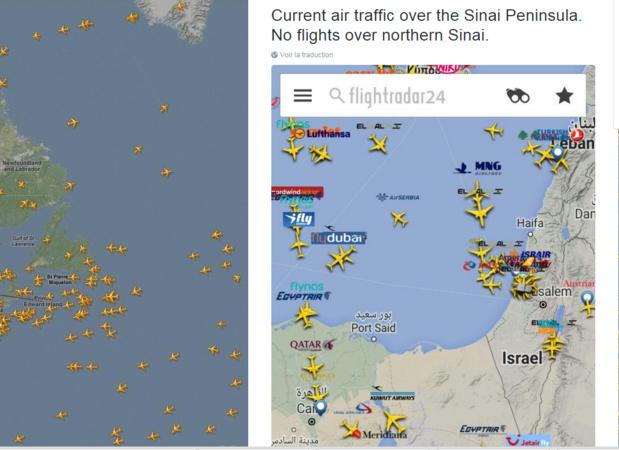 Air France et Lufthansa ont déserté le survol de la région mais elles ne sont pas les seules... /capture twitter