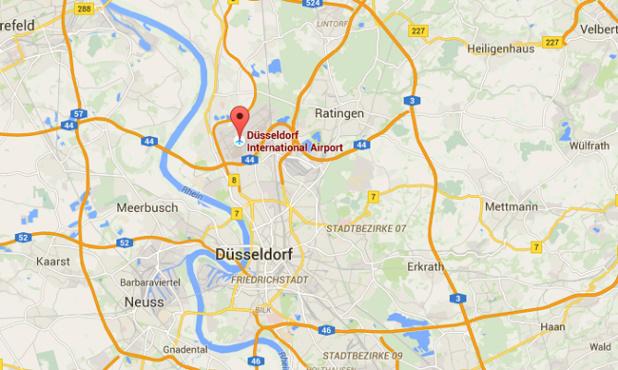 Le trafic de l'aéroport de Düsseldorf a été perturbé ce matin - DR : Google Maps