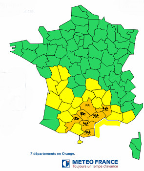 7 départements du Sud de la France en vigilance orange - DR : Météo France