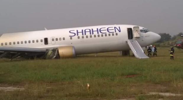 Le Boeing de Shaheen Air est sorti de piste à Lahore (Pakistan) - Photo Twitter @raisinganchor