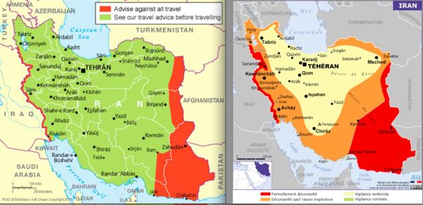 A gauche, la carte de conseils aux voyageurs britanniques. A droite, celle des Français. DR