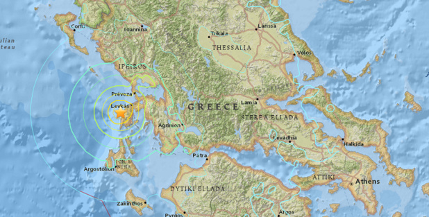 Les secousses du séisme ont été ressenties jusque dans les îles de Zante et Corfou - DR : USGS