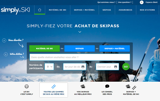 Simplytoski.com, dernier né de la famille TravelFactory - Capture d'écran
