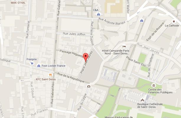 La place Jean-Jaurès dans le centre de Saint-Denis est bouclée - DR : Google Maps
